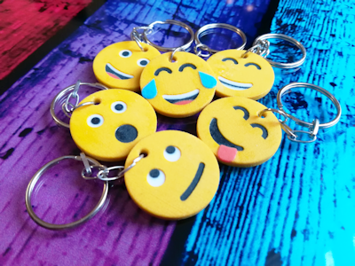 Unique 3D printed emoji keyrings