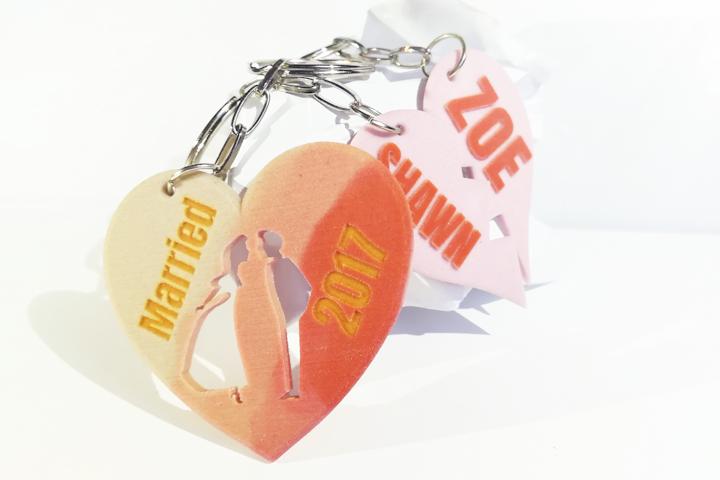 Egyedi kulcstartók szerelmes pároknak - 3D nyomtatott